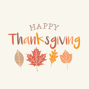 Thanksgiving card with autumn leaves. Editable vector design.